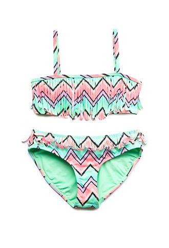 Festive Fringe Two-Piece Swimsuit (Kids) | FOREVER21 girls - 2000088358