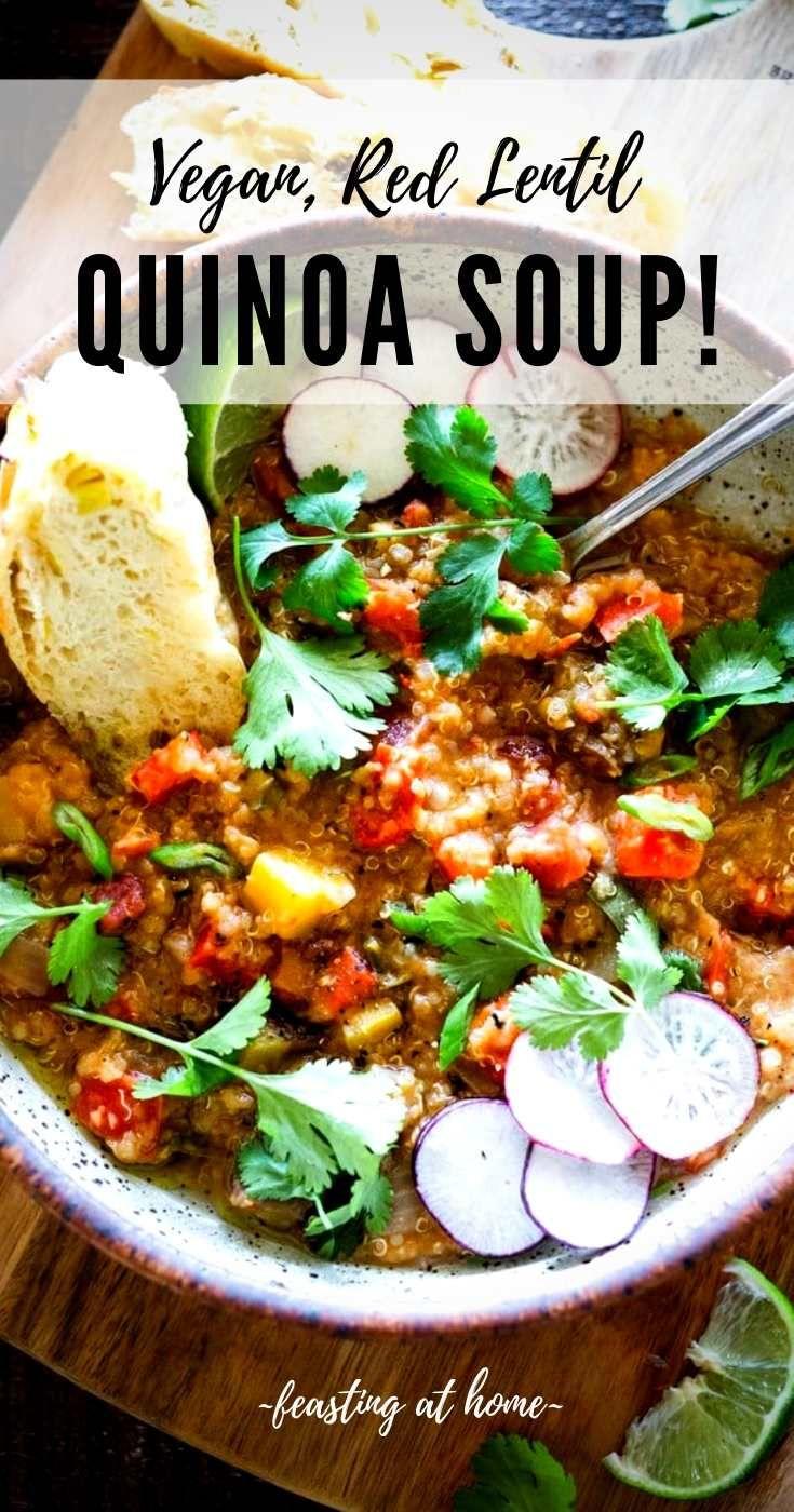 Moroccan Lentil Quinoa Soup Recipe In 2020 Easy Soup Recipes Lentils Quinoa Soup