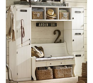 Modular Family Locker Entryway System with Bench #potterybarn//this collection is just so cool