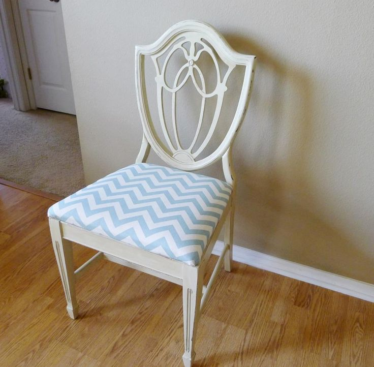 Vintage shield back chair repaired repainted and for Ideas for reupholstering dining room chairs
