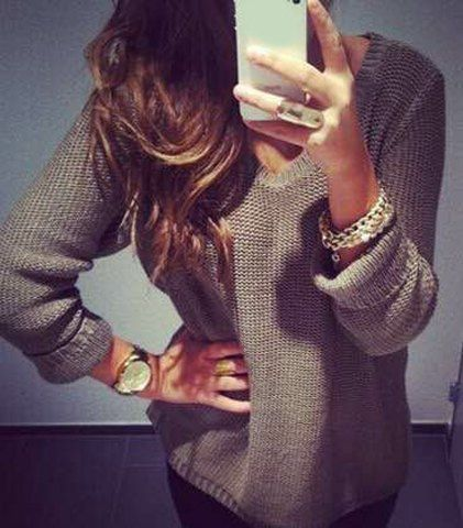 Casual V-Neck Long Sleeve Solid Color Loose-Fitting Sweater For Women