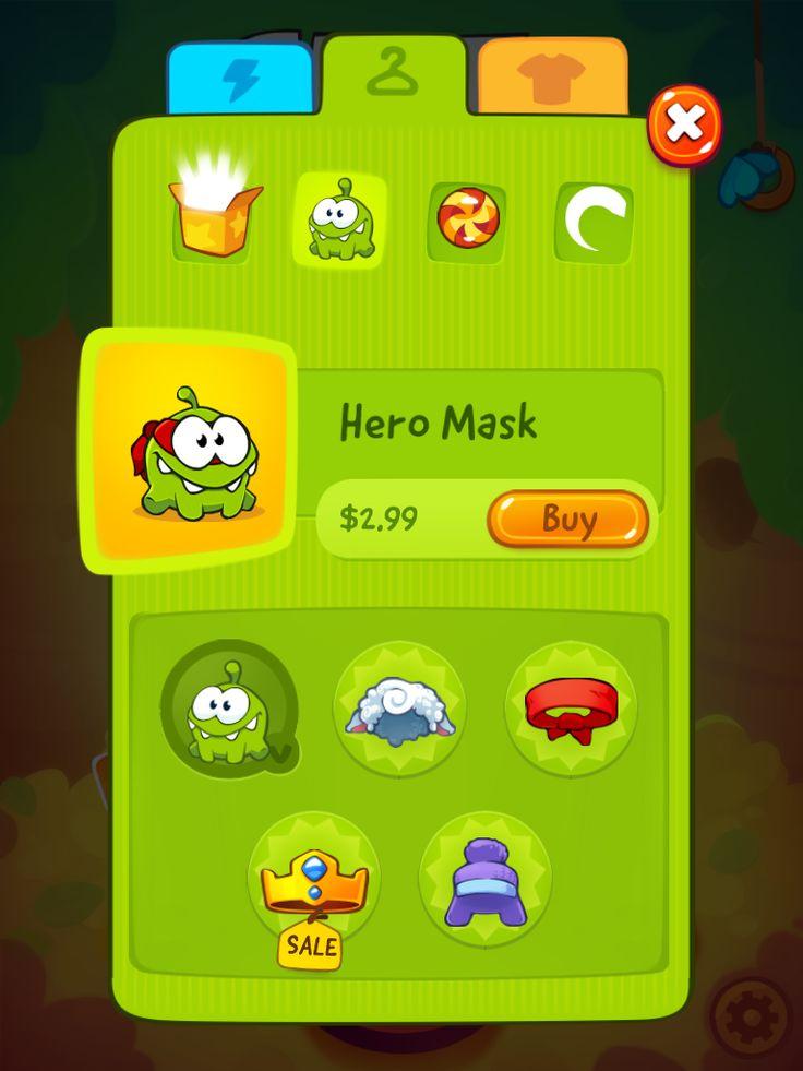 CUT the ROPE 2 | IAP Skins Store | UI, HUD, User Interface, Game Art, GUI, iOS, Apps, Games, Grahic Desgin, Puzzle Game, Brain Games, Zeptolab | www.girlvsgui.com