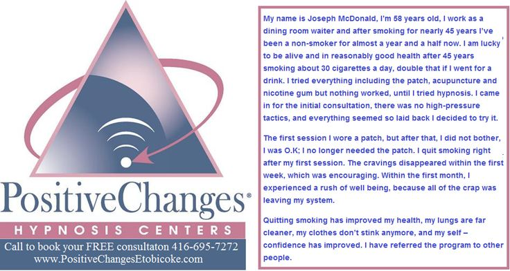It's always feels good to be able to help people quit smoking. They feel so much better too! http://www.PositiveChangesEtobicoke.com