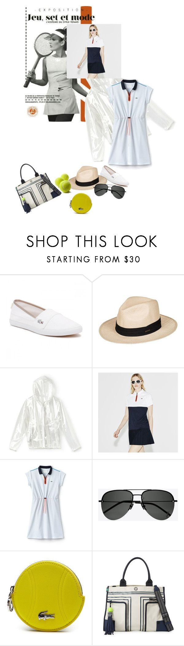 """Roland Garros"" by gabrielleleroy ❤ liked on Polyvore featuring Lacoste, Roxy, Yves Saint Laurent and Tory Sport"