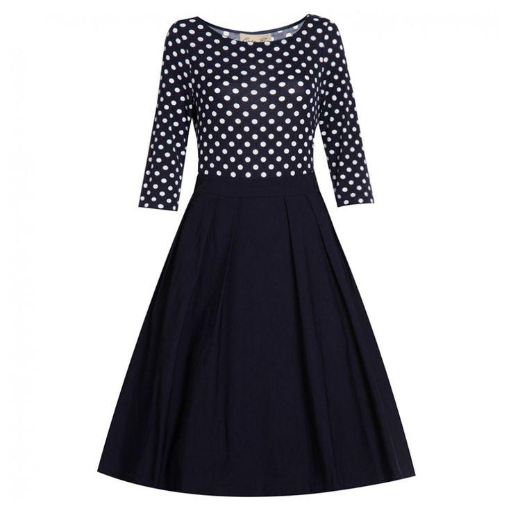 Black Long Sleeves Polka Dots Big Pendulum 50s Vintage Striped Dress