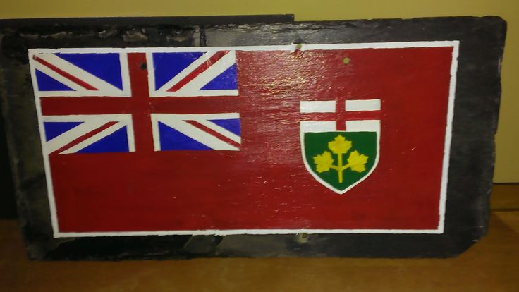 Flag of Ontario on Historical Slate from Queen's Park