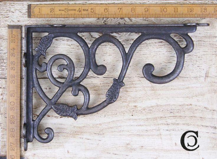 1 Coppia Design Decorativo Da Appendere Reggimensola Ghisa Ant Ferro 230x340 mm