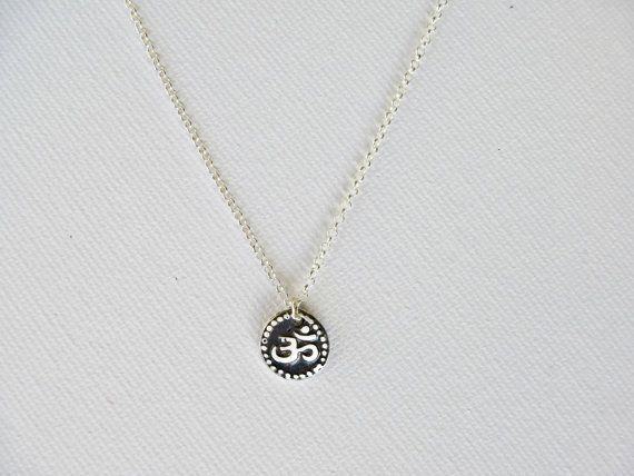 Tiny OM necklace, Sterling silver OM pendant, Yoga jewelry. Gift for her.