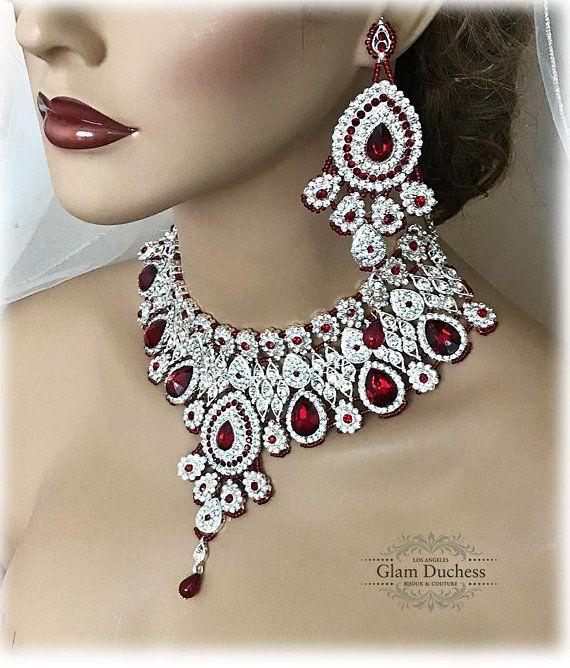 Crystal Bridal Bib Necklace Earrings