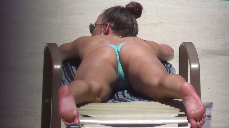 brunette college girl in bikinis