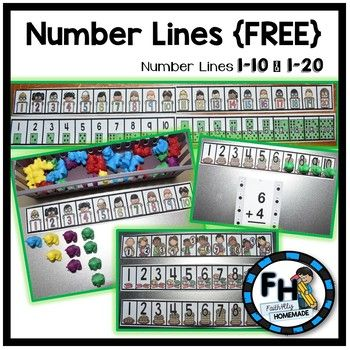 This download includes 3 different number lines from 1-10, and 2 different number lines from 1-20. Both color & black and white versions are included. The best part is they are FREE! Use these number lines to help with counting, addition, subtraction, etc.
