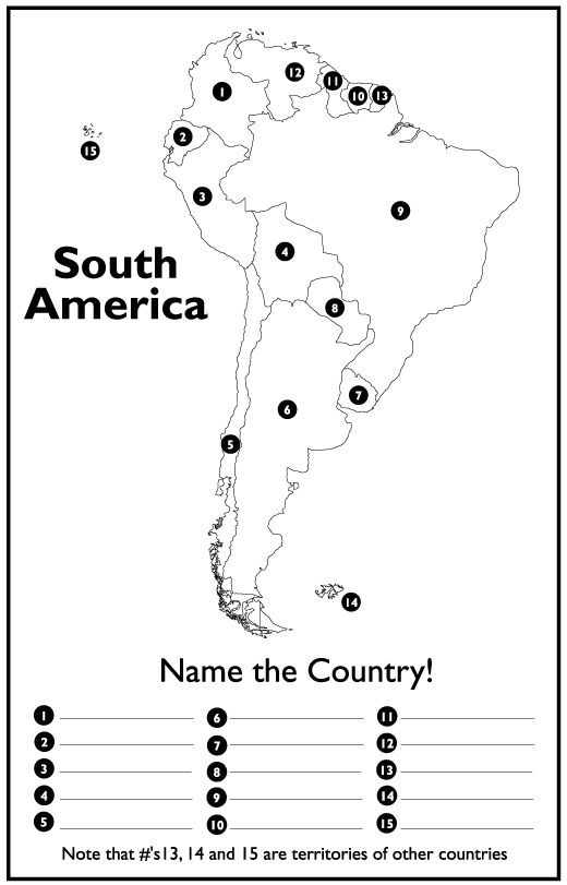 South America Map Puzzle - Countries and Capitals