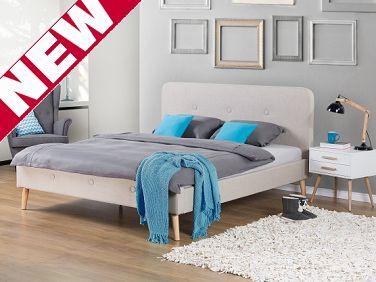 Bett Beige – Doppelbett 160x200 cm – Ehebett – Polsterbett – RENNES