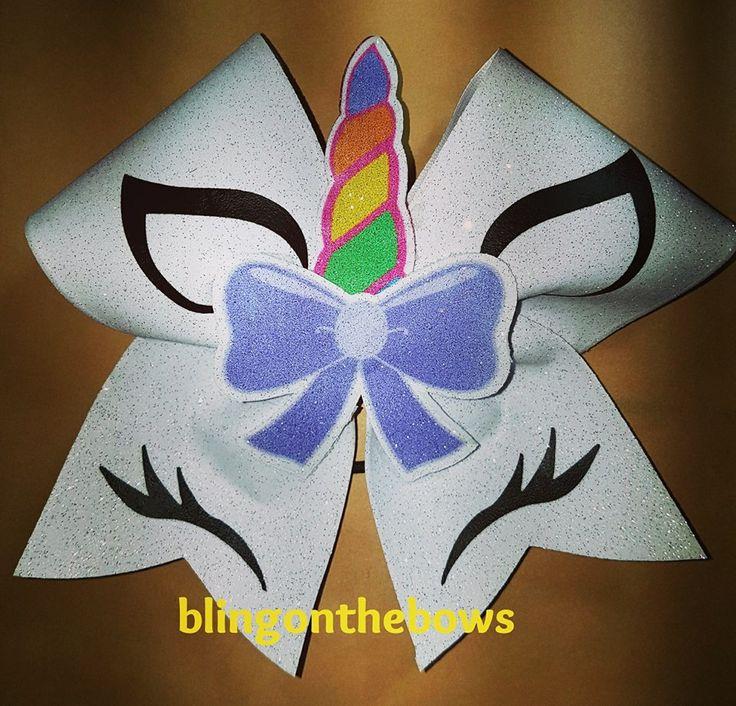 Unicorn rainbow cheer bow