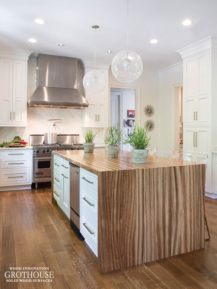 Zebrawood Waterfall Table for a kitchen in Memphis https