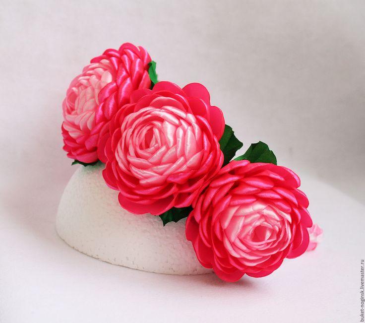 """Купить Ободок-венок """"Пионы"""" - розовый, ярко-розовый, зеленый, ободок, ободок для волос"""