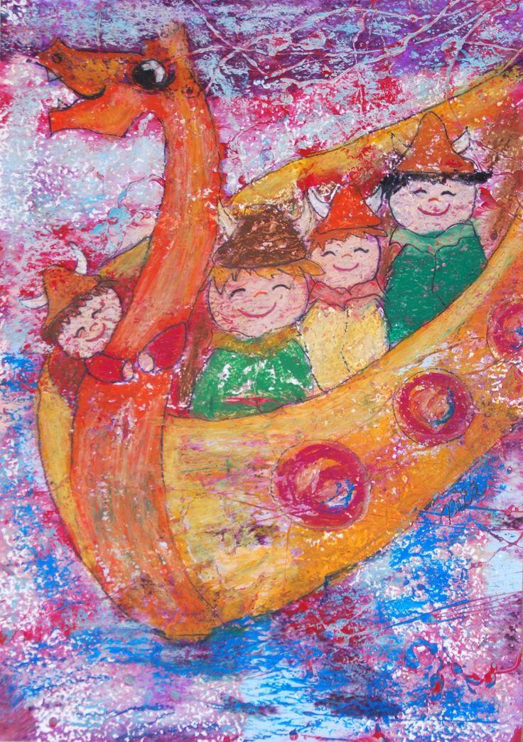 A3 Original Kinderzimmerbild Wikinger // original nursery painting: vikings