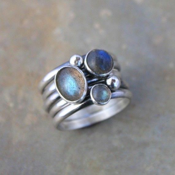 Labradorite Sterling Silver Stacking Rings Set of 5 Rings