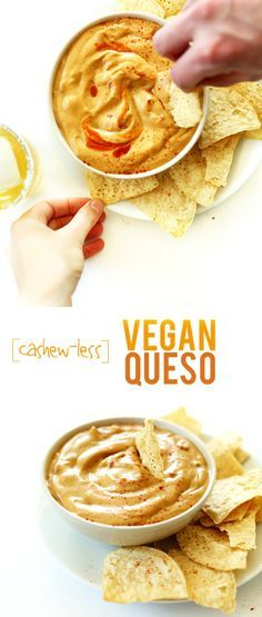 Cashew-less Vegan Queso! A secret ingredient keeps this dip light, healthy AND #glutenfree #vegan and #soyfree! SO cheesy and delicious.