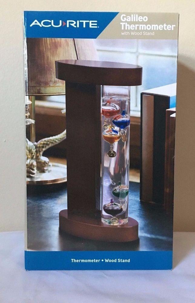 Acu Rite Galileo Thermometer Floating Liquid Weather Wood Stand  | eBay