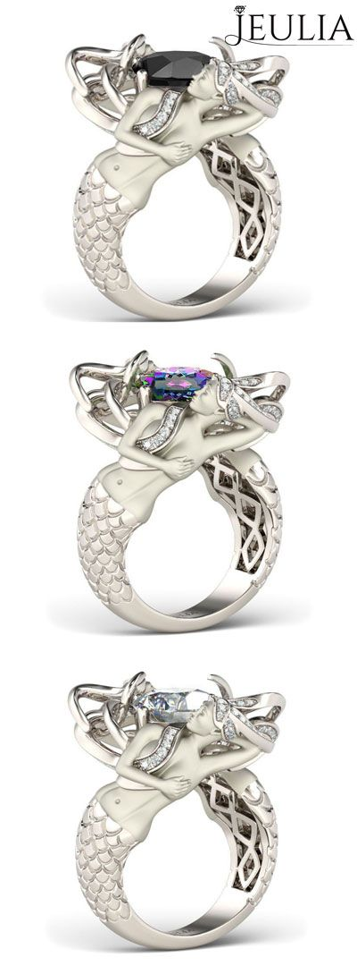 Sterling Silver Women's Mermaid Engagement Ring With Cushion Cut, which color will you select? #jeulia