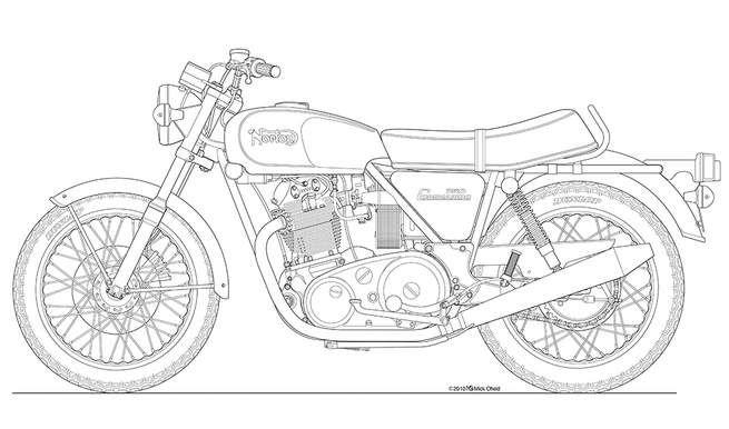 Norton Commando 750 Roadster Line Drawing Norton Commando Cafe Racer Helmet Motorcycle Tattoos