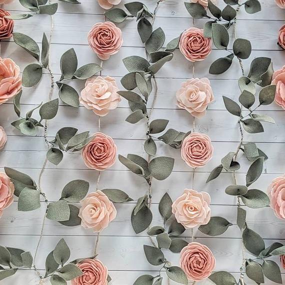 Felt Floral Backdrop For Birthday Party Felt Flower Baby Shower Decor Flower Photo Backdrop Felt Flower Wall Hanging For Nursery Hanging Flower Wall Baby Shower Flowers Felt Flowers