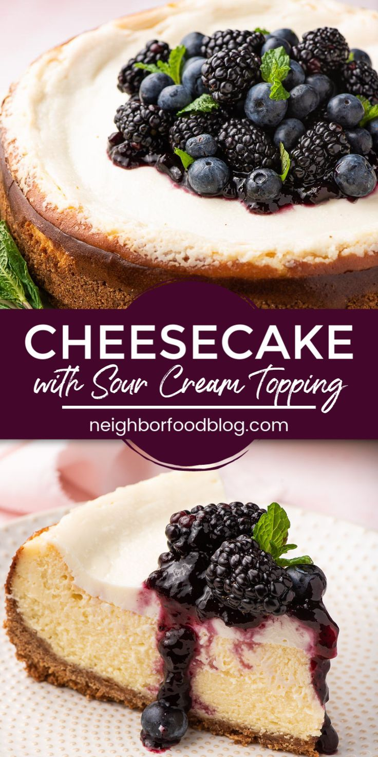Easy Cheesecake With Sour Cream Topping In 2020 Sour Cream Cheesecake Holiday Cheesecake Recipes Cheesecake Recipes