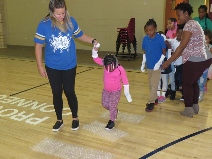 """A fun birthday activity and crowd favorite. We used large bubble, bubble wrap, and had the kids """"hop on pop"""". Here we led the kids through different variations of how to progress through the bubble wrap line!"""