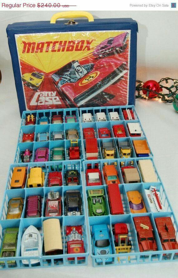 "Matchbox car case Craig had tons of these. His favorite was a ""pink Cadillac what had doors what open """