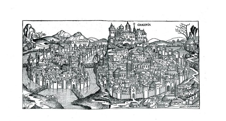 View of Krakowfrom Schedls Chronicle of the World, Illustrations by Michael Wolgemut & workshop, edited 1493 in Nueremberg