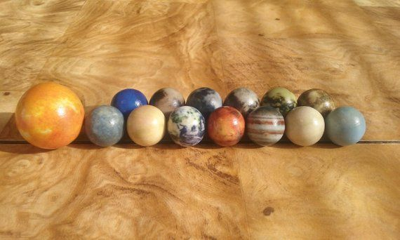 Moon Marble and Stand Planet World Space Globe Orrery 25mm Detailed Glass
