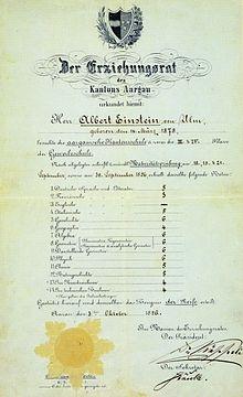 """Cijferlijst van Einsteins eindexamen middelbare school, 1896. De cijfers werden gegeven op een schaal van 1 tot 6, waarbij 6 het hoogste cijfer, en 4 een voldoende is. Einstein had vijf maal een """"6"""" (=10): voor geschiedenis, natuurkunde en drie wiskundevakken."""