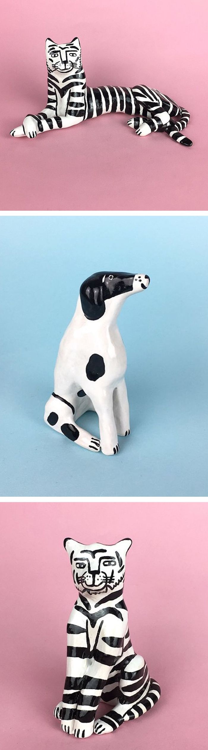 Black and white ceramics by Lucy Kirk #opticalillusion #ceramics #ceramicfigures