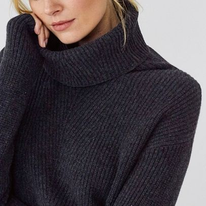 Roll Neck Ribbed Knitted Dress