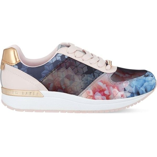TED BAKER Phressya II floral print trainers ($88) ❤ liked on Polyvore featuring shoes, sneakers, baby pink, lace up shoes, leather sneakers, flower print shoes, lacing sneakers and round toe sneakers