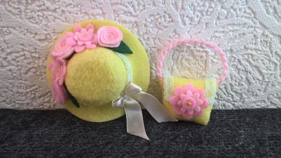 Beautiful lemon hat and pursedecorated with pink flowers for