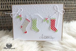 Magical Scrapworld, hang your stockings. cards, christmas, hang your stocking, softly falling, Stampin' Up!