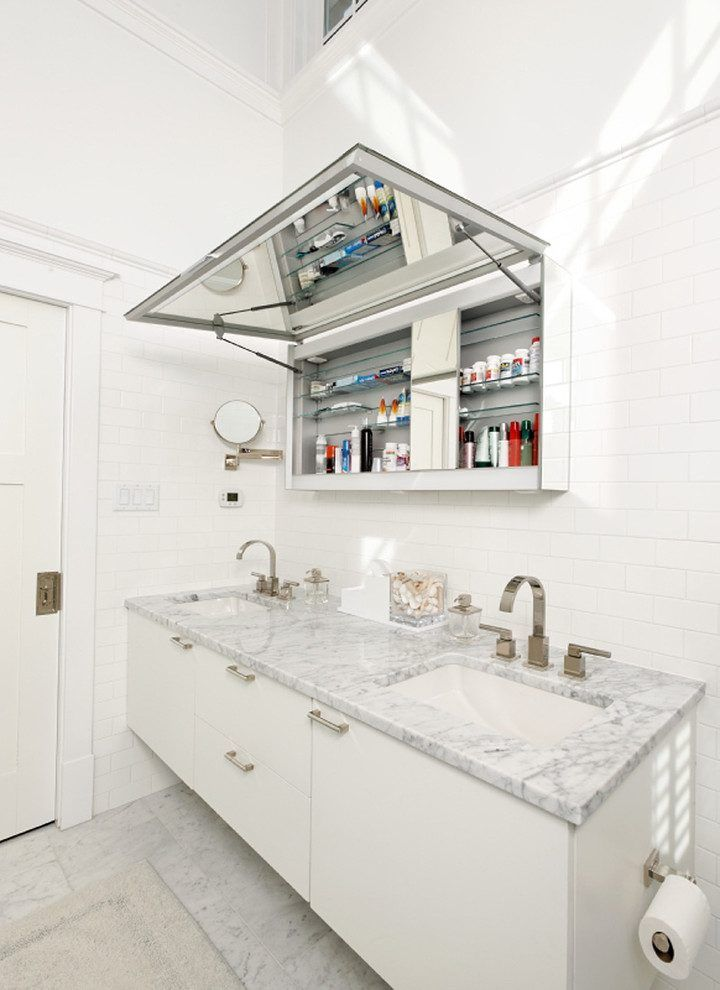 Horizontal Lift Up Hinge Bathroom Contemporary With Mirror Cabinet