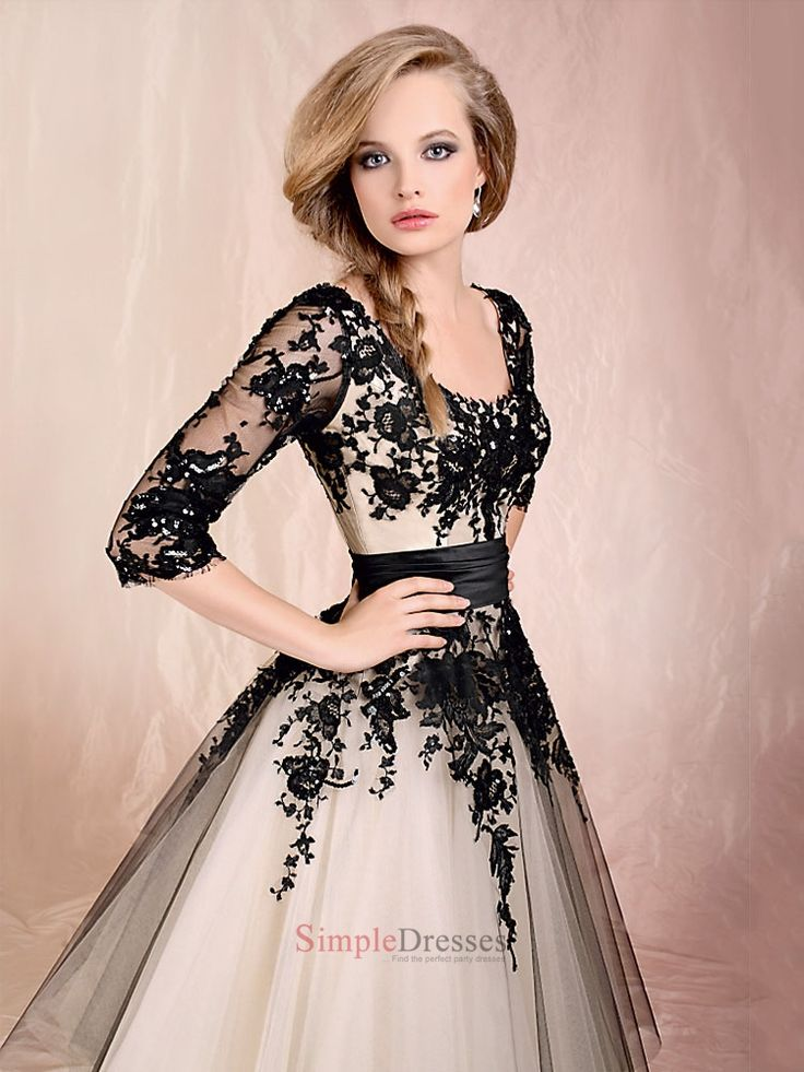 Ball Gown Scoop Neckline Long Sleeves With lace Floor Length Dress PD1737: Gorgeous!!