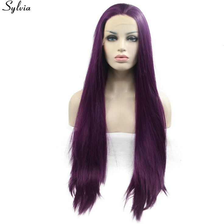 Sylvia Heat Resistant Fiber Natural Purple Long Silk Straight Hair Wigs Soft Synthetic Lace Front 180% Density Wig Free Shipping #Affiliate