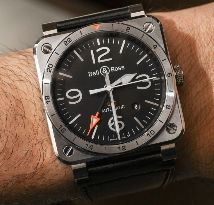 """Bell & Ross BR 03-93 GMT Watch Hands-On - by Ariel Adams - At 42mm wide, B&R is a little smaller than usual. Check out this GMT at: aBlogtoWatch.com - """"Look closely, and you'll notice a new GMT watch from Bell & Ross for 2016. I've appreciated the brand's refined and legible GMT watches for a while, and this newest model is actually a melding of various watches from the brand's modern history. So now let's take a look at the Bell & Ross BR 03-93 GMT..."""""""