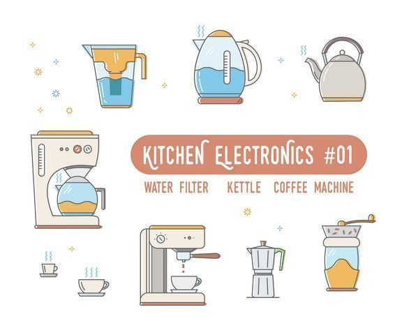 #shutterstock ID:674992813 Line icons set of kitchen electronics pictogram symbol collection for website,mobile application,banner,flyer,leaflet,Infographics. Food equipment-kettle,coffee machine,water filter,coffee grinder.  #appliances #coffee #grinder #collection #cook #cooker #deep #domestic #electronics #equipment #espresso #flat #food #home #house #household #icons #illustration #kettle #kitchen #line #logo #machine #maker #outline #pictogram #processor #set #sign #small
