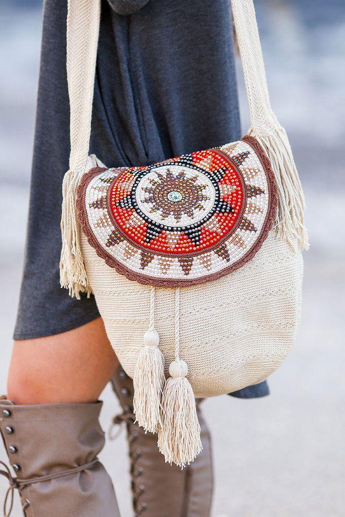 Copy of Wayuu Handmade Cross Body Bags (Beige)