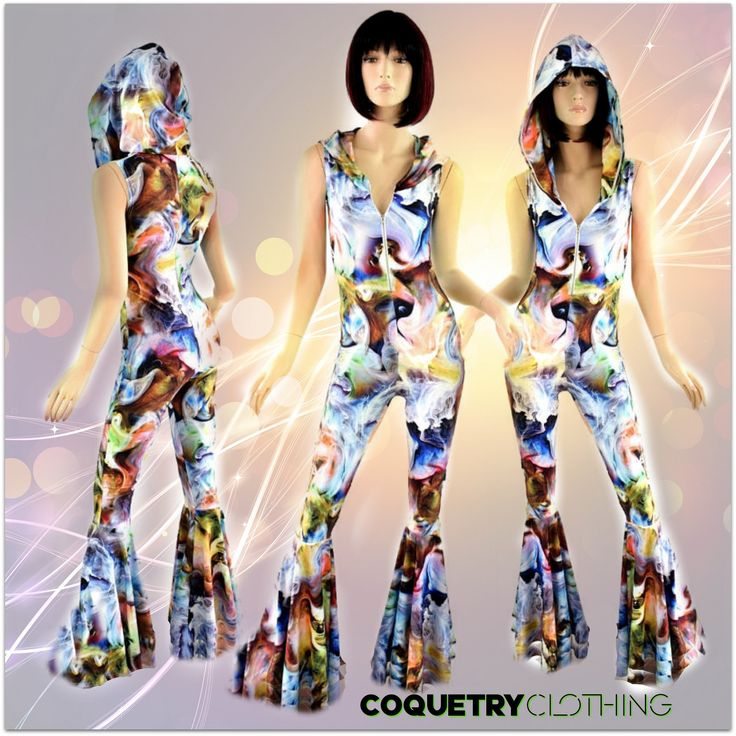 Swirling Smoke Hooded Sleeveless Zipper Front Spandex Catsuit with Bell Bottom Flares & Swirling Smoke Hoodlining 152324 by CoquetryClothing on Etsy https://www.etsy.com/listing/270524210/swirling-smoke-hooded-sleeveless-zipper