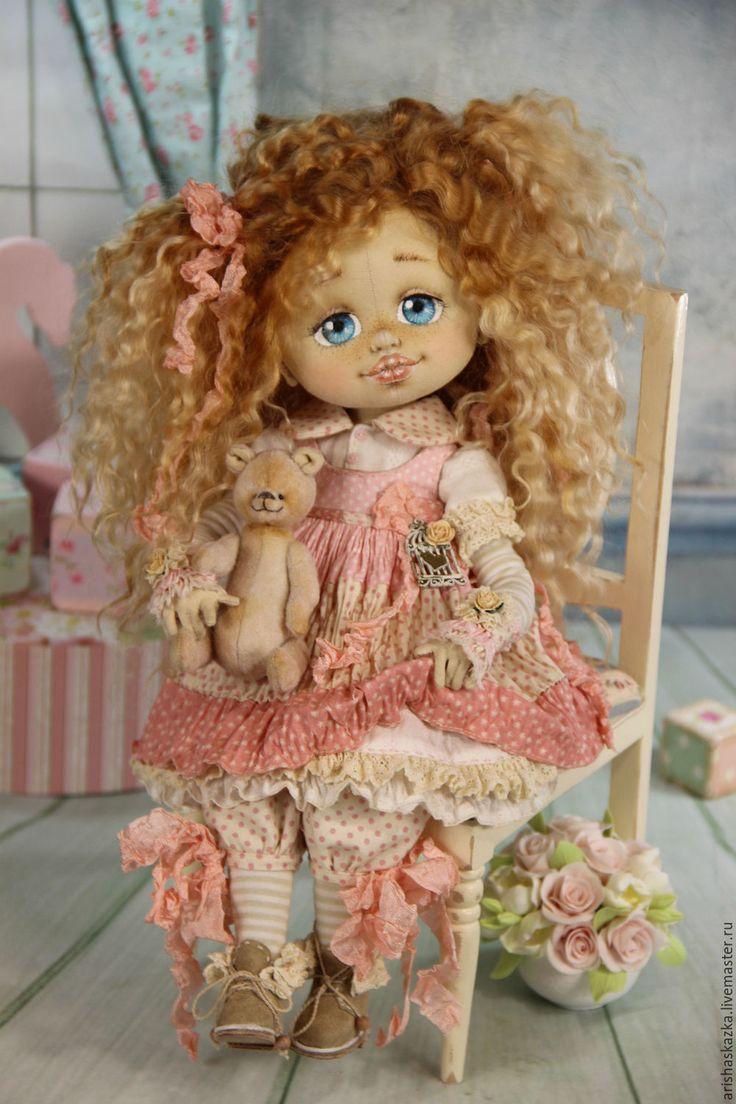 Купить Клёпочка (резерв) . Кукла авторская текстильная Шебби-шик - кремовый, розовый, розы, белый