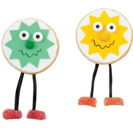 This fun-shaped cookie will leave everyone smiling. Its cheery face is made using Bright Yellow Sugar Sheets!