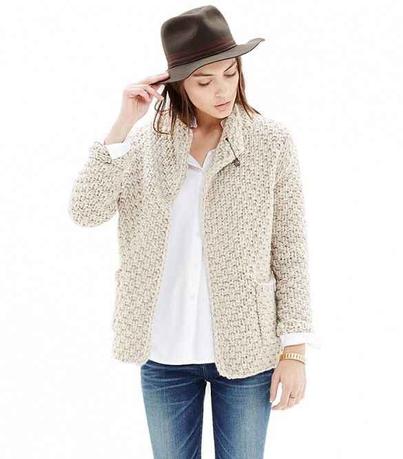 Madewell Handknit Basketweave Cardigan in Cream
