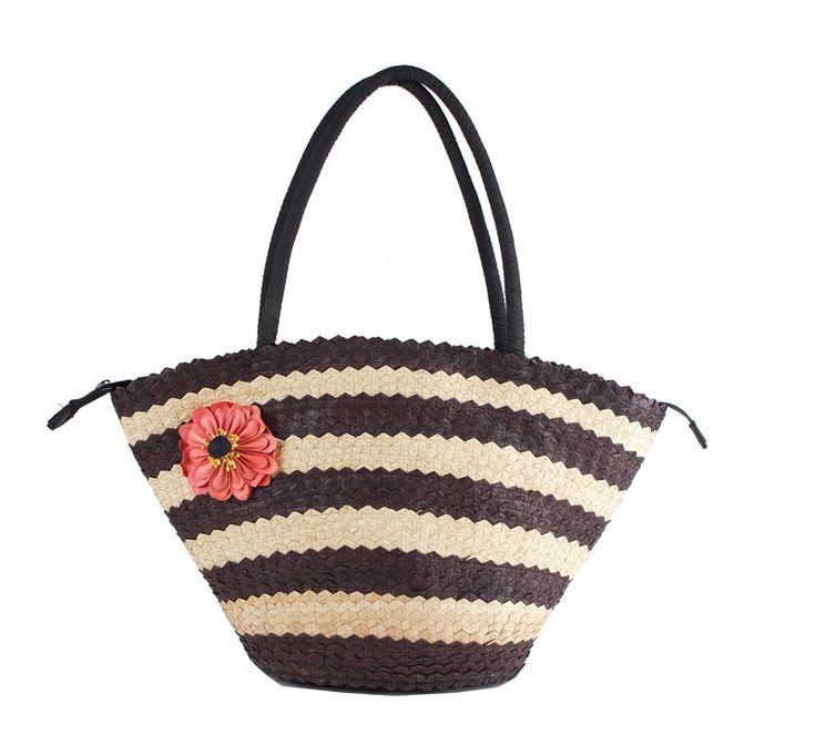 Väska av palmblad med blomma svart/natur B56cm H 31/60cm