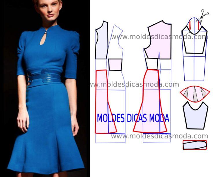 Analise o desenho da transformação do molde de vestido em malha para poder fazer a leitura de forma correta. Desta forma simplifica o seu trabalho...